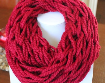 Burgundy Arm Knit Scarf