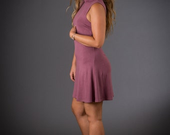 Flared Turtleneck Dress - Bamboo Dress - Eco Clothing - Bamboo and Organic cotton - Dusty Rose Dress - Pink Dress