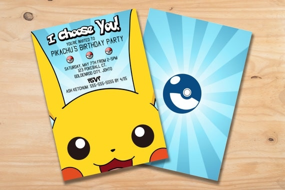 PRINTABLE Custom Pikachu Pokemon Birthday Party Invitation Card 5x7 Make An Impression With Your Personalized And Get Ready To