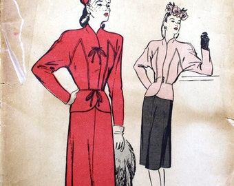 1940's Vintage Original Suit Pattern, Butterick 3520, Bust 34""