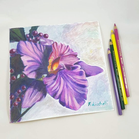 """Purple orchid, painting, OOAK - original mixed media on paper """"Orchid""""- 20x20 cm./7,9x7,9 inc.wall art,home decore,wall decoration,gift idea"""