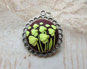 Polymer clay jewelry, Flower necklace pendant, Chamomile