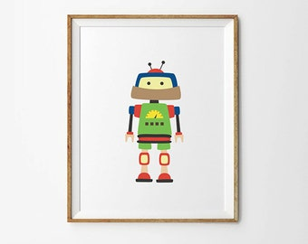 Robot print, 5 x 7 in, 8 x 10 in, Green, Yellow & Blue, Baby boy print, Nursery Poster, Robot poster, Toddler boy, Kids room decor