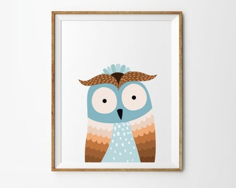 Owl print, 5 x 7 in, 8 x 10 in, Nursery wall art, Toddler boy art, Kids print, Baby print, Kids room art, Nursery decor, Instant download