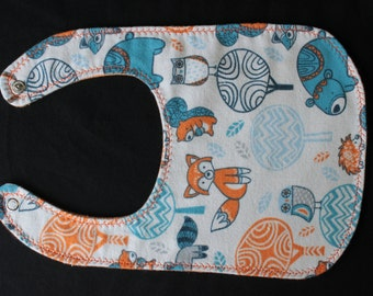 Forest Fox and Friends Flannel Bib with Snap Fastener baby bib baby gift shower gift eating essentials baby layette mealtime essentials