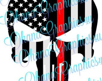 Firefighter American Flag Punisher SVG