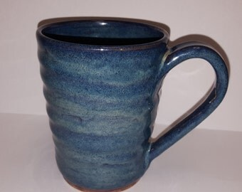 Blue grooved 11.5oz mug