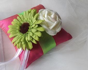 Ring Bearer Pillow, Silk Ring Pillow, Pink Ring Pillow, Flower Ring Pillow, Wedding Ring Pillow, Ring Pillow