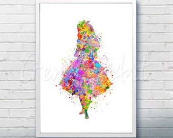 Disney Alice in Wonderland Watercolor Poster Print - Wall Decor - Watercolor Painting - Watercolor Art - Kids Decor- Nursery Decor [1]