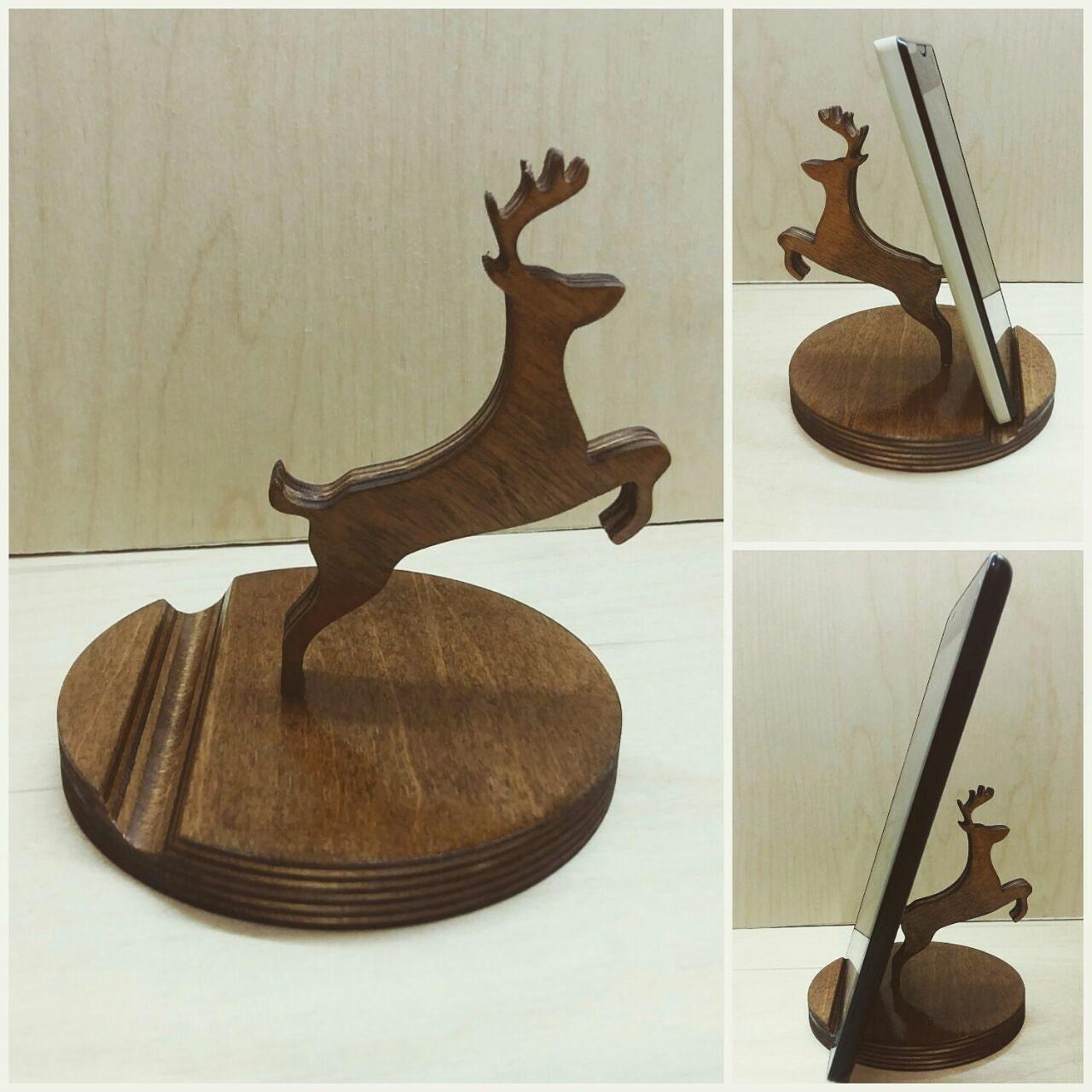 Wooden phone holder deer stand desk