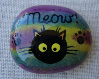 Hand painted stone-black cat-lucky stone-gift for cat lovers-cat gift idea-Meow!