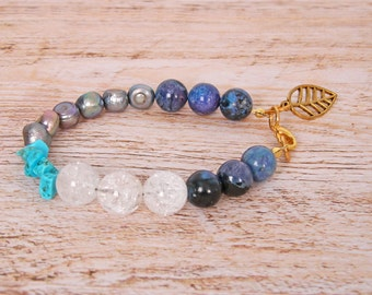 Blue and Golden stones bracelet