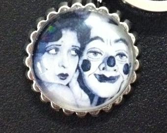 Vintage Retro Rockabilly Flapper Clown Clara Bow Circus Keychain