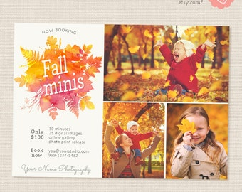 "Fall Mini Session Template: ""Fall Watercolor"" Photography marketing, Photoshop template, Fall template, Autumn photography, Photographer"