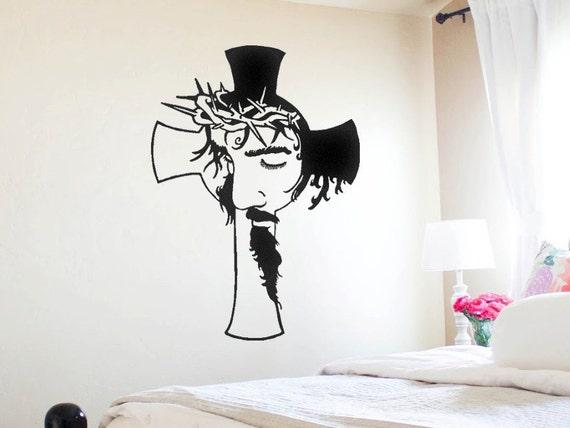 Christ Face Inside A Cross Vinyl Wall Decal Cross Decal