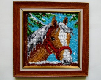 Horse - handmade picture embroidered with beads, Beadwork, Embroidered picture, Home décor, Wall decor