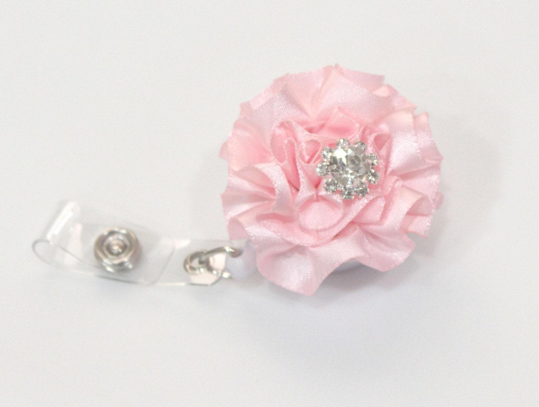 Baby Pink Ribbon Flower Retractable Badge Reel Work Id Cute