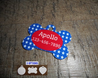 Pet Tags Personalized - American/ Patriotic / 4th of July / Pet Tags / Dog Tags / Cat Tags / Dog ID Tags / Cat ID Tags / Pet Tags