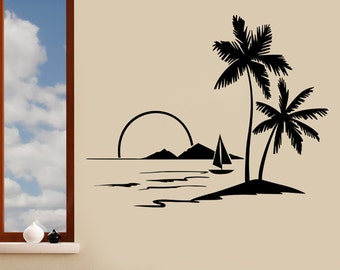 Tropical Island Sunset with Palm Trees & Boat Wall Sticker - Art Vinyl Decal Transfer - by Rubybloom Designs