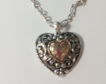16in Silvertone and goldtone heart necklace