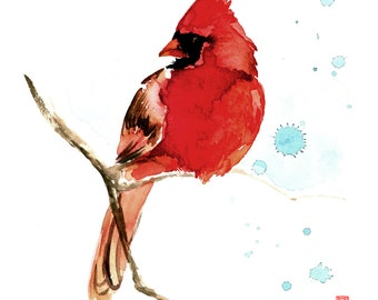 Cardinal Watercolor Painting Fine Art Giclee Print / Bird painting / Wildlife painting / Bird lover gift
