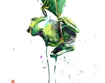 "ORIGINAL Tree Frog Rainforest Watercolor Painting - 11"" x 14"" (27.9cm x 35.6cm)"
