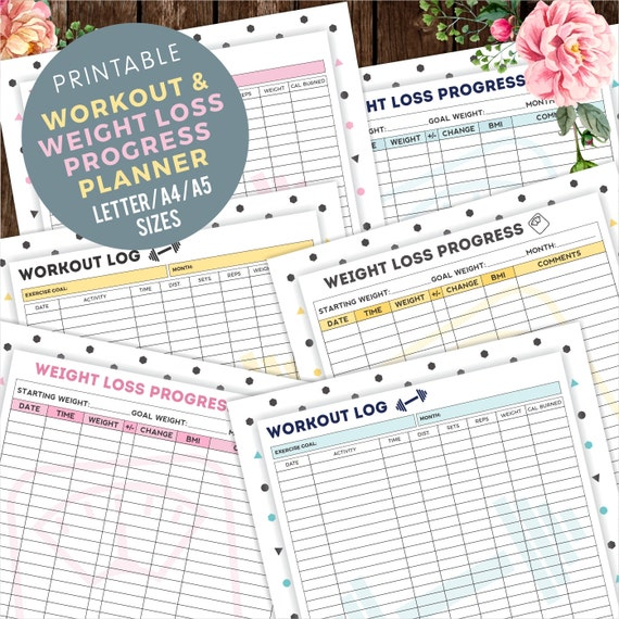 Printable Weight Training Daily Log: Weight Loss Progress Tracker Workout Log Tracker By Halfmental