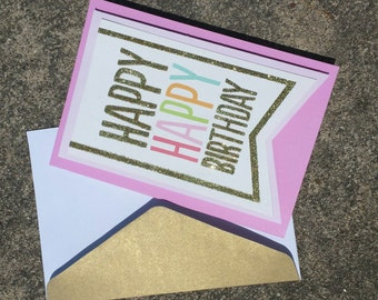 Happy Birthday Card Pink and Gold