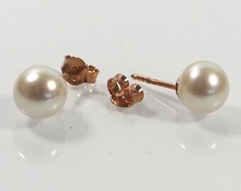 Gold Pink Pearl Post Earrings , 8mm Shell Pearl Earrings , Sterling 925 Earrings , Rose Gold Plated Silver Stud Earrings, Gift For Her