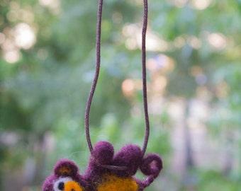 Needle felted monkey on  necklace, wool toy, felt monkey, toy animal, cute, monkey sculpture, soft, brown, necklace