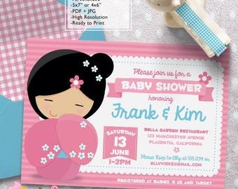 Kokeshi Doll Baby Shower invitations DIY Japanese Doll printable Girls Shower invite