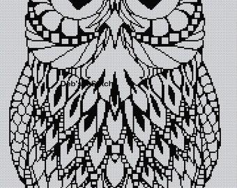 Blackwork Owl #15 Cross Stitch Chart