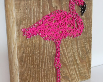 decorative pink Flamingo in string art