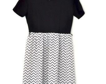 Vintage Black & White Zig-Zag Pattern Dress
