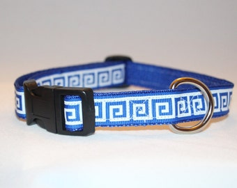 Blue Greek Key Adjustable Dog Collar