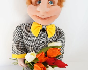 """Brownie Albert - Exclusive Handcrafted Artist Doll from our """"Brownies"""" limited edition"""