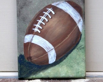 Football on Brown & Green: Original Acrylic Painting on Stretched Canvas, 5x7 inches