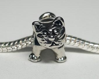 Silver Happy Cat Charm for European Bracelets (item 116)