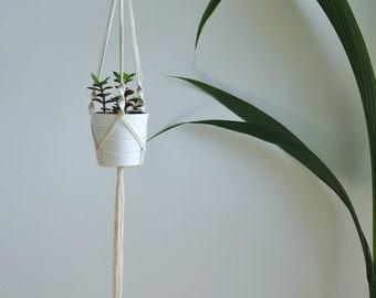 macrame plant hanger, hanging planter, modern macrame hanger, small flower hanger, modern macrame wall art, Christmas gift, rope pot hanger