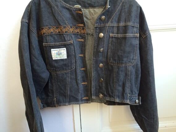 jeansjacke jacke 80er jahre biker jeans rock 39 n 39 roll biker. Black Bedroom Furniture Sets. Home Design Ideas