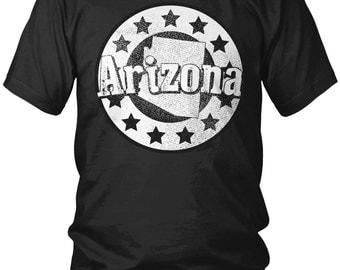 Faded Arizona State Circle Star Crest Men's T-Shirt, State of Arizona, Arizonan Pride, Grand Canyon State, Men's Arizona Shirts AMD_2359