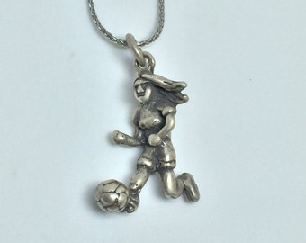 Female Soccer Player Running Silver 925 Vintage Sports Charm, Item 16- Free Shipping within USA