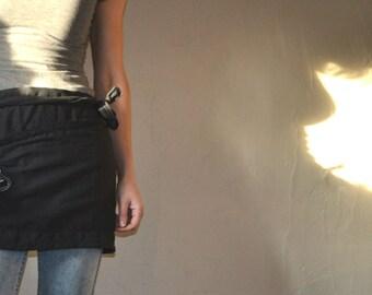 Black Linen Apron, Cafe Apron, Linen Half Apron,  Chef, Cafe, Wrap Apron. Hand made