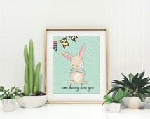 Bunny nursery art ,Green bunny print art, Nursery Print, Green Nursery Decor, Instant Download Art For Kids, Baby Animal Print,  Kids Art