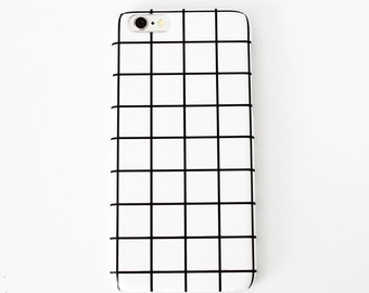 White Grid Phone Case | iPhone 5/5s/SE 6/6s 6 PLUS/6s PLUS Cute Hipster Aesthetic Tumblr Minimalistic Hard Matte