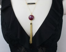 Ruby Necklace, Long Necklace, Layered Necklace, Tassel Necklace, Bar Necklace, Double Strand Necklace, Gold Necklace, Statement Necklace,