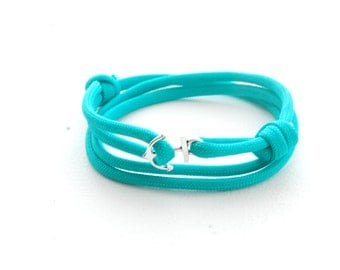 Mens Womens - Anchor Bracelet - Turquoise Rope Bracelet - Anchor Paracord Bracelet - Triple Wrap Bracelet - Silver Anchor Paracord
