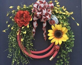 Hose wreath, garden wreath, ladybug wreath, floral wreath, summer wreath, spring wreath, red wreath, sunflower wreath, lady bug wreath