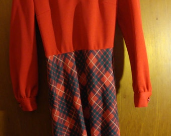 Groovy Red and Plaid Vintage Dress by Carlye Retro Womens Clothing
