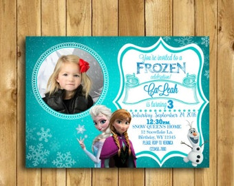 Frozen Birthday Invitation Frozen Fever Frozen Invitation Frozen Birthday Party Frozen Birthday Invitation With Photo DIGITAL 5x7